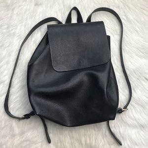street level black vegan faux leather backpack